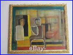 Vintage Mexican Painting Mystery Surreal Cubist Cubism Modernist Expressionism
