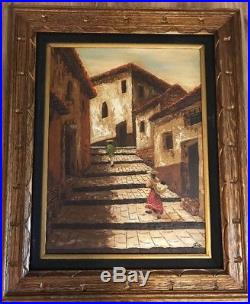 Vintage Mexican Village Oil Painting Original Signed Mexico Large 33x28