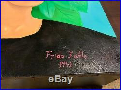 Vintage Mexico 1942 Frida Kahlo Oil Painting On Canvas Signed Rare 20.5 X 24'
