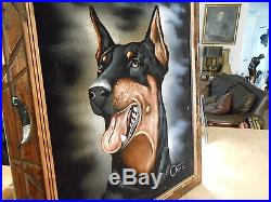 Vintage Mexico Velvet Painting Doberman Pinscher Dog Signed Ortiz
