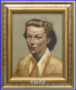 Vintage Mid Century 1940s 50s Oil Painting Portrait Lady Woman Framed & Signed