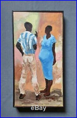Vintage Mid-Century 1959 African American Genre Figural Oil Portrait Painting