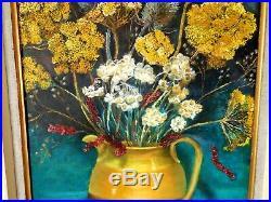 Vintage Mid Century'78 Oil Painting on Board Still Life Vase Jug Flowers Signed