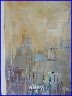 Vintage Mid Century Abstract Cityscape Oil Painting Signed Charles, B 1968