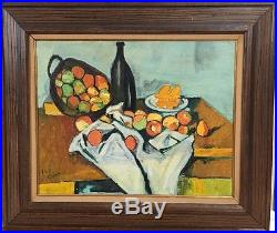 Vintage Mid Century Abstract Expressionist Oil Painting Signed Framed Still Life