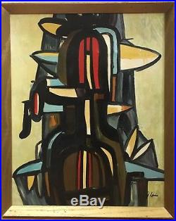 Vintage Mid Century Abstract Geometric Cubist Oil Painting Signed Framed