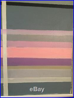 Vintage Mid Century Abstract Geometric Hard Edge Modern Oil Painting 42x32