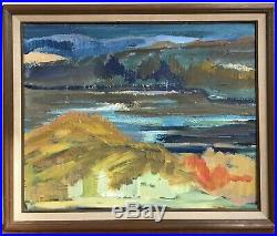 Vintage Mid Century Abstract Oil Painting Landscape Seascape