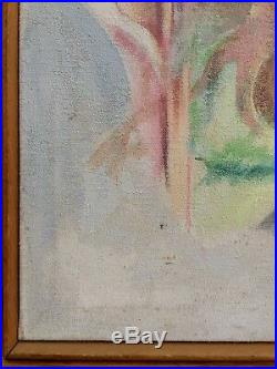 Vintage Mid Century Abstract Oil Painting signed Framed 31X31 Large