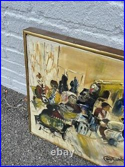 Vintage Mid-Century Abstract Painting Signed 1965 Original Artwork Band Music