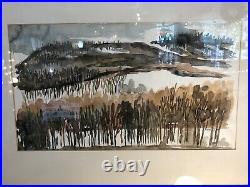 Vintage Mid Century Abstract Watercolor Landscape Framed Painting Signed Olson