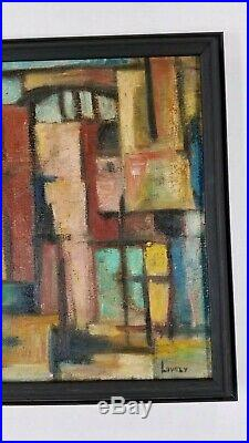 Vintage Mid Century American Modernist Abstract Painting Cityscape Signed Lovely