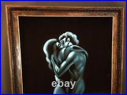 Vintage Mid Century Black Velvet Painting Lovers Man Woman Framed Blue Sexy