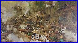 Vintage Mid Century Chinese Modern Impressionist Painting Hong Kong Old Village