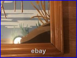 Vintage Mid Century Flamingo Picture by James M Arrow Bamboo Light Colored Frame