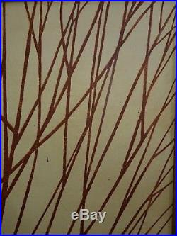 Vintage Mid Century Framed Canvas Painting Tree Signed Clifton 37 X 37