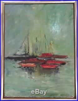 Vintage Mid Century Framed Original Sailboat Oil Painting, Signed Dottie Hill
