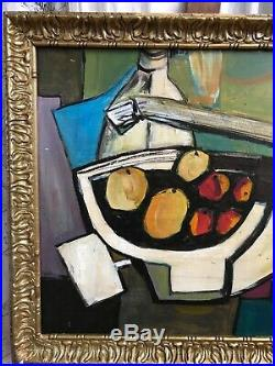 Vintage Mid Century French CLR Abstract Cubist Still Life Oil On Board Painting