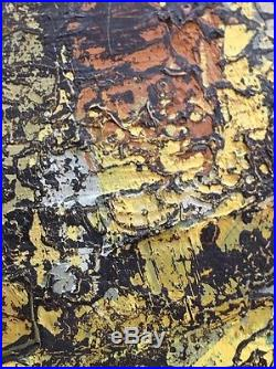 Vintage Mid Century German Abstract Expressionist Oil Painting Signed 1959