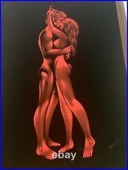 Vintage Mid Century Large Black Velvet Painting LOVERS Man and Woman Framed