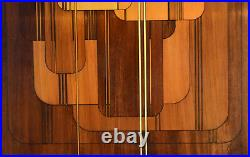 Vintage Mid-Century Modern Abstract Geometric Wood Tone Painting signed