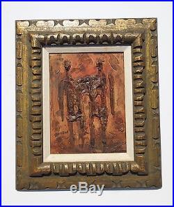 Vintage Mid Century Modern Abstract Impasto Oil Painting Signed Luzon Red Figure