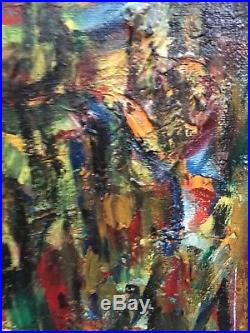 Vintage Mid Century Modern Abstract Oil Painting Signed Framed