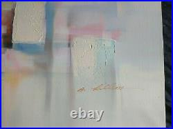 Vintage Mid Century Modern Abstract Original Acrylic Oil Painting Sign A Lillion