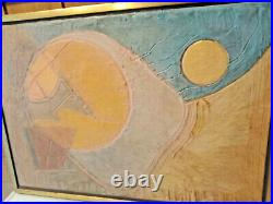 Vintage Mid Century Modern Abstract Painting Sun Warmed Ronald Hayes Maine 1979