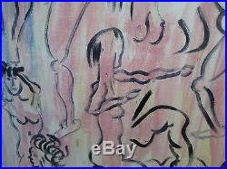 Vintage Mid Century Modern Art Painting Nude Figure Study Signed ZATZ