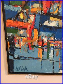 Vintage Mid Century Modern Large Abstract Oil Painting On Canvas- Signed