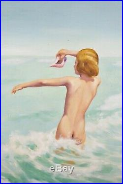 Vintage Mid Century Modern Oil Painting Beautiful Nude Woman Ocean Beach Signed