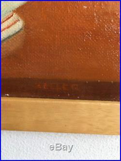 Vintage Mid Century Modern Orange Teal Surreal Still Life Oil Painting- Signed