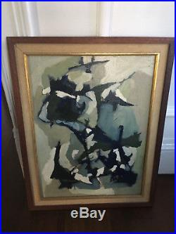 Vintage Mid Century Modern Original Abstract Oil Painting Signed And Dated