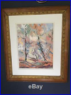Vintage Mid Century Modern Original Abstract Trees Oil Painting Signed