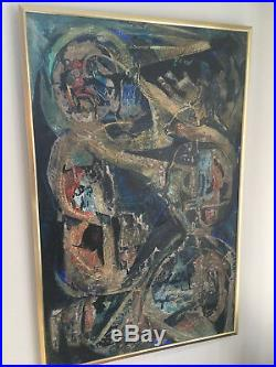 Vintage Mid Century Modern Original Blue Abstract Oil Painting -Signed And Dated