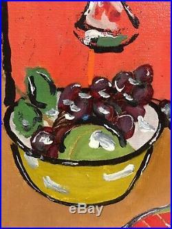 Vintage Mid Century Modern Pop Art Abstract Still Life Oil Painting