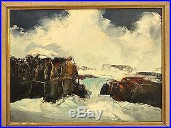 Vintage Mid Century Modern Water Rock Scene Painting Carved Frame Signed Croft