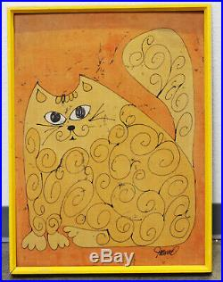 Vintage Mid Century Modern Yellow Orange Cat Painting Framed Signed By Artist