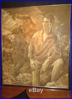 Vintage, Mid-Century Oil(or acrylic) Painting. VERY LARGE A MAN & DOGSIGNED