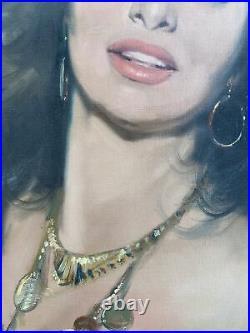 Vintage Mid Century Original Oil Painting Sophia Loren Gypsy Portrait Signed