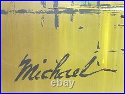 Vintage Mid Century Painting Oil on Board San Francisco Bridge Signed Michael