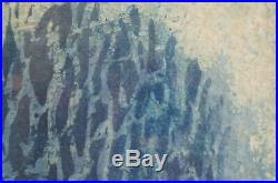 Vintage Mid Century Signed 1959 Abstract Watercolor Painting on Paper