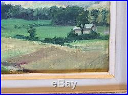 Vintage Mid Century Signed NY Landscape Oil Painting French Frame