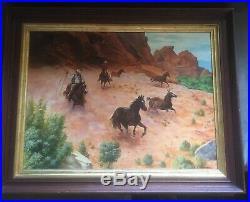 Vintage Mid Century Western Art Oil Painting Horses Cowboys Signed B Tiedemann