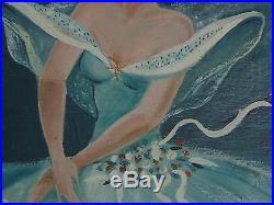 Vintage Mid Century original Oil Painting Ballet Dancer Ballerina 1960 signed