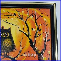 Vintage Midcentury Modern Owl Painting by Matson Oil on Canvas Spooky But Cute