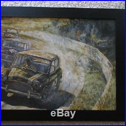 Vintage Mini Cooper Car Race Track Retro Modernism Abstract Illustration Large