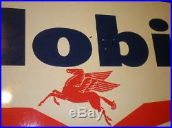 Vintage Mobil Paint Double Sided Metal Large 2' x 3' Sign with Pegasus Logo RARE