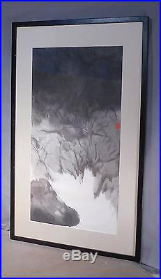 Vintage Modern Abstract Landscape Japanese Chinese Brush Painting SIGNED Asian